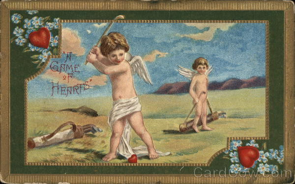 A Game of Hearts: Cupids Playing Golf