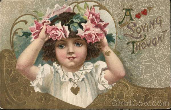 A Loving Thought - Girl Holding Hat With Pink Roses