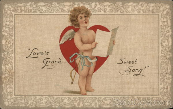 Love's Grand Sweet Song - Cupid Holding Sheet Music, Singing