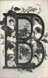 "Large Letter ""B"" with Women's Faces"