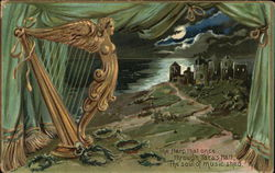 Golden Harp By Lush Green Curtains Overlooking Village By Sea