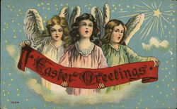 "Three Angels Holding Red Banner with ""Easter Greetings"""