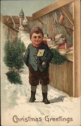 German Boy in front of Christmas Market Stall