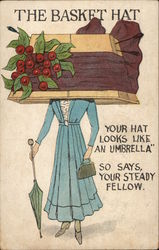 The Basket Hat - Woman Wearing Inverted Basket with Sash & Red Berries