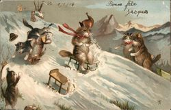 Cats Sledding Down Snowy Hill
