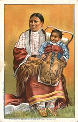 Illustration of Native American Woman with Child in Carrier