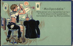 Mollycoddle - Man Wearing Corset Grooming Hair in Mirror