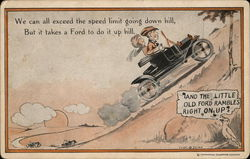 Man and Woman In Early Ford Going Up A Hill Postcard