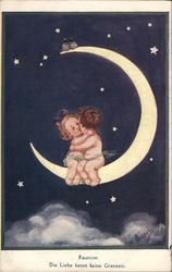 Children Kissing on Crescent Moon