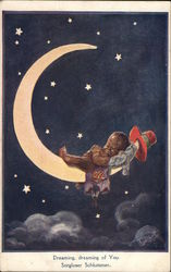 Child Sleeping on Crescent Moon with Hat Hanging from Tip