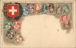 Assorted Swiss Stamps and Swiss Shield
