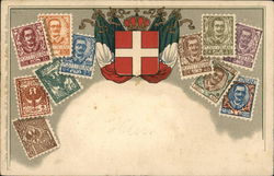 Collage of Italian Stamps With Italian Seal in Center