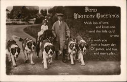 Fond Birthday Greetings - Man With St. Bernard Dogs and Girl on Pony