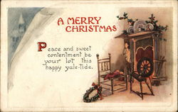 A Merry Christmas - Chair, Spinning Wheel & Wreath by Fireplace