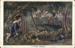A Fairy Vision - Boy Spying on Fairies Floating in Forest