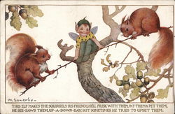 Elf Between Two Squirrels on a Tree Limb Postcard