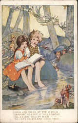 Boy and Girl Reading Book In Stream Surrounded By Fairies