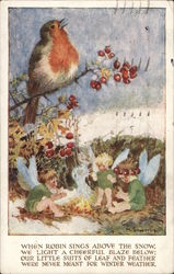 Robin In Tree Above Fairies By A Fire Postcard