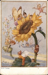 Little Fairies Flying and Sitting around a Sunflower