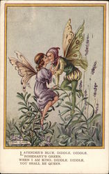 Fairy and Elf Kissing on Lavender Leaves