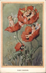 Fairy Cradles - Fairies Reclining in Red Poppy Flowers