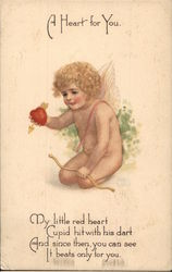"""A Heart For You"" - Kneeling Cupid Offering Heart"