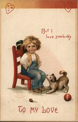 To My Love - Boy In Chair With Dog Looking Up Him