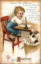 To My Valentine - Boy in Red Chair Writing At Table, Dog In Basket Looking On