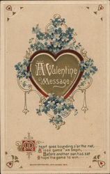 A Valentine Message - Blue Flowers Surrounding Gold Heart