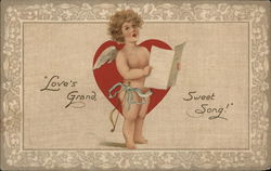 """Love's Grand Sweet Song"" - Cupid Holding Sheet Music, Singing"