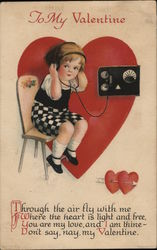 To My Valentine - Child Wearing Headphones Listening to Radio