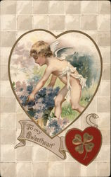 To My Sweetheart - Cupid Lifting Bushel of Flowers