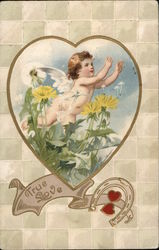 True Love - Heart-Shaped Inset of Baby Cupid Among Flowers