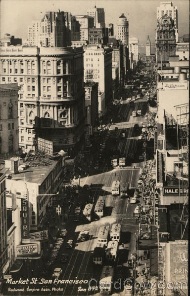 Aerial View of Market Street San Francisco California