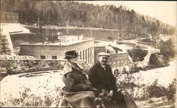 Snapshot of Couple at Park or Dam Postcard