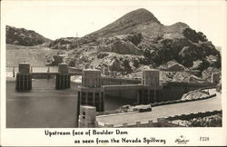 Upstream Face of Boulder Dam Seen From the Nevada Spillway Postcard