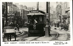 Single Deck Car No. 45 in Queen Street, Cardiff, Wales