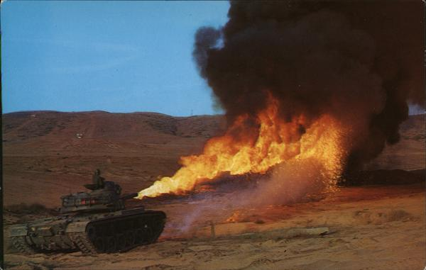 A Flame Tank of the 1st Tank Battalion Camp Pendleton California