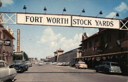 Entrance to Fort Worth Stockyards - Exchange Avenue Postcard