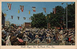World's Biggest Fish Fry Parade Postcard