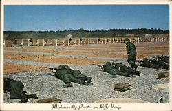 Marksmanship Practice on Rifle Range Postcard