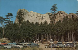 parking Area for the Mt. Rushmore National Memorial Postcard