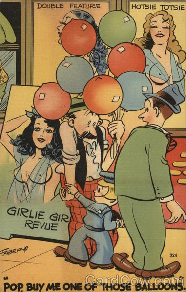 Boy Pointing To Woman's Breasts: Pop, Buy Me One Of Those Balloons.