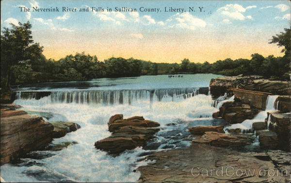 The Neversink River and Falls in Sullivan County, Liberty, N.Y. New York