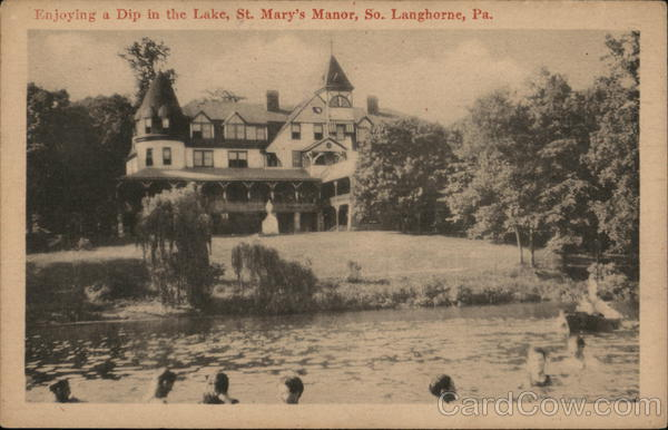 Enjoying a Dip in the Lake, St Mary's Manor South Langhorne Pennsylvania