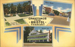 Greetings - Bristol Common showing World War Memorial, Main Street, Bristol Inn