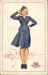 "TWA Flight Attendant Saluting, ""At your Command!"""