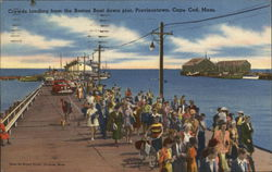 Crowds Landing From the Boston Boat Down Pier, Cape Cod Postcard
