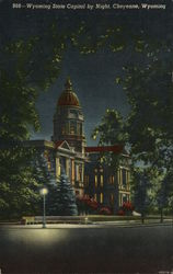 Wyoming State Capitol By Night