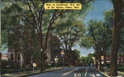 West on Lincolnway (U.S. 30) At the Square Postcard